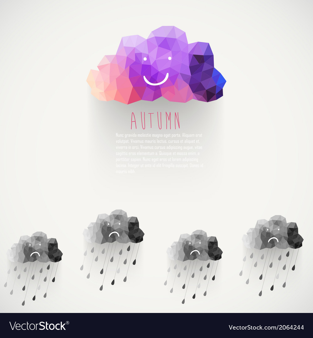 Cloud smile made of triangles think positive retro vector | Price: 1 Credit (USD $1)