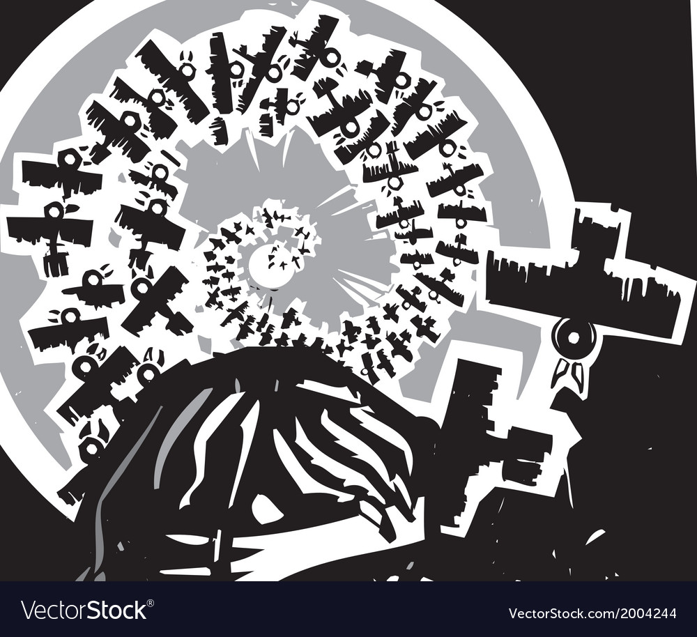 Norse god odin with spiral crows vector | Price: 1 Credit (USD $1)