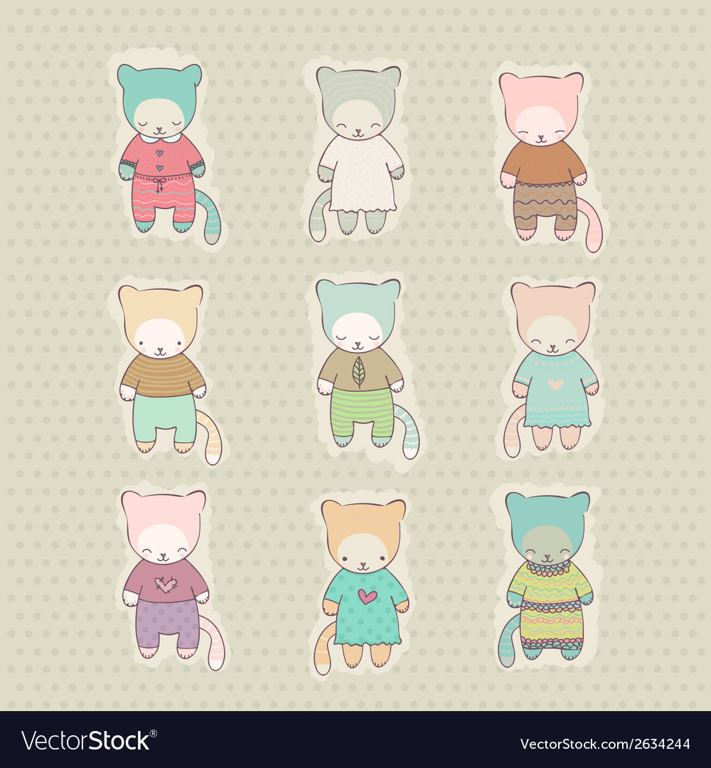 Set of cute cartoon cats dressed vector | Price: 1 Credit (USD $1)