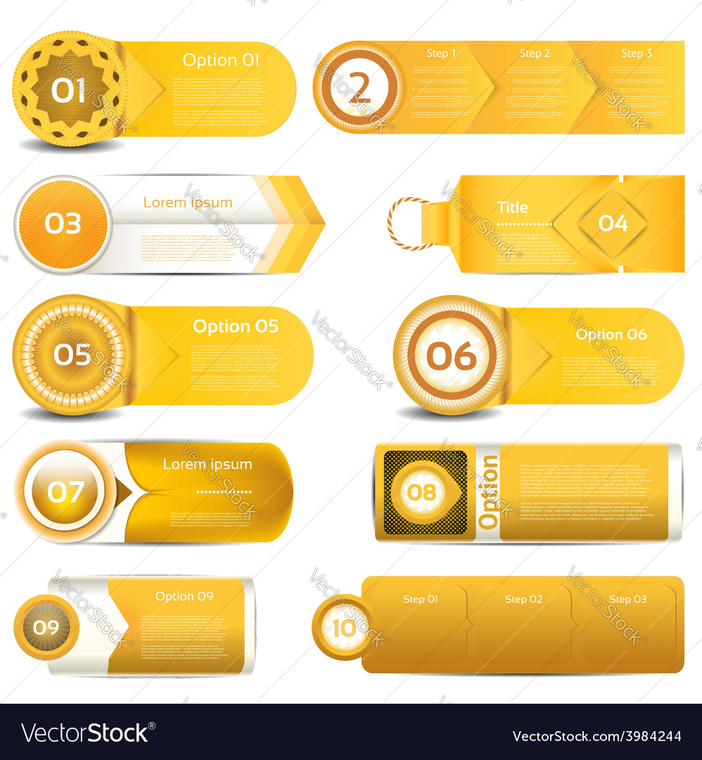 Set of orange progress version step icons eps 10 vector | Price: 1 Credit (USD $1)