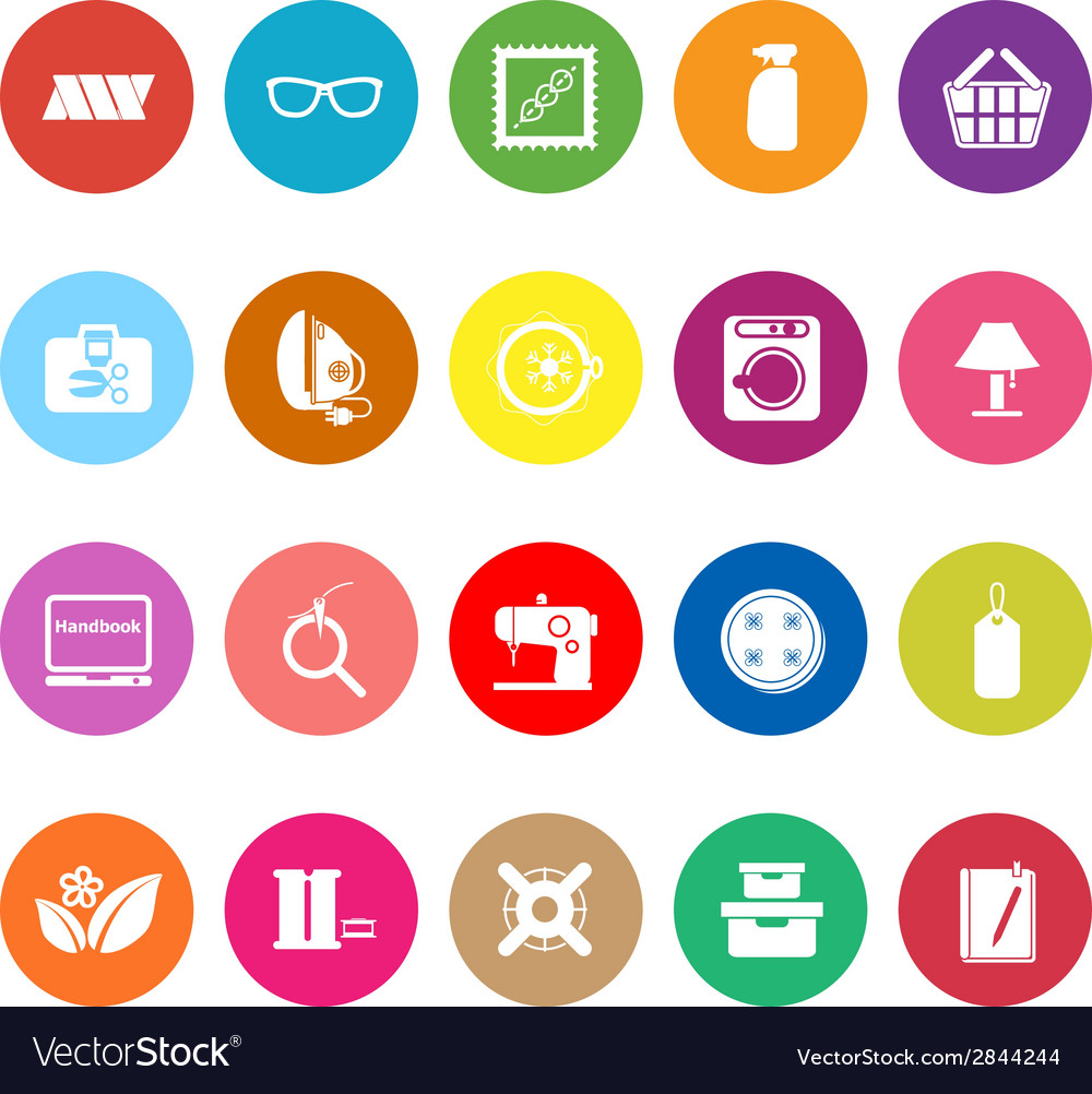 Sewing cloth related flat icons on white vector | Price: 1 Credit (USD $1)
