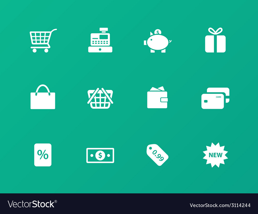 Shopping icons on green background vector   Price: 1 Credit (USD $1)