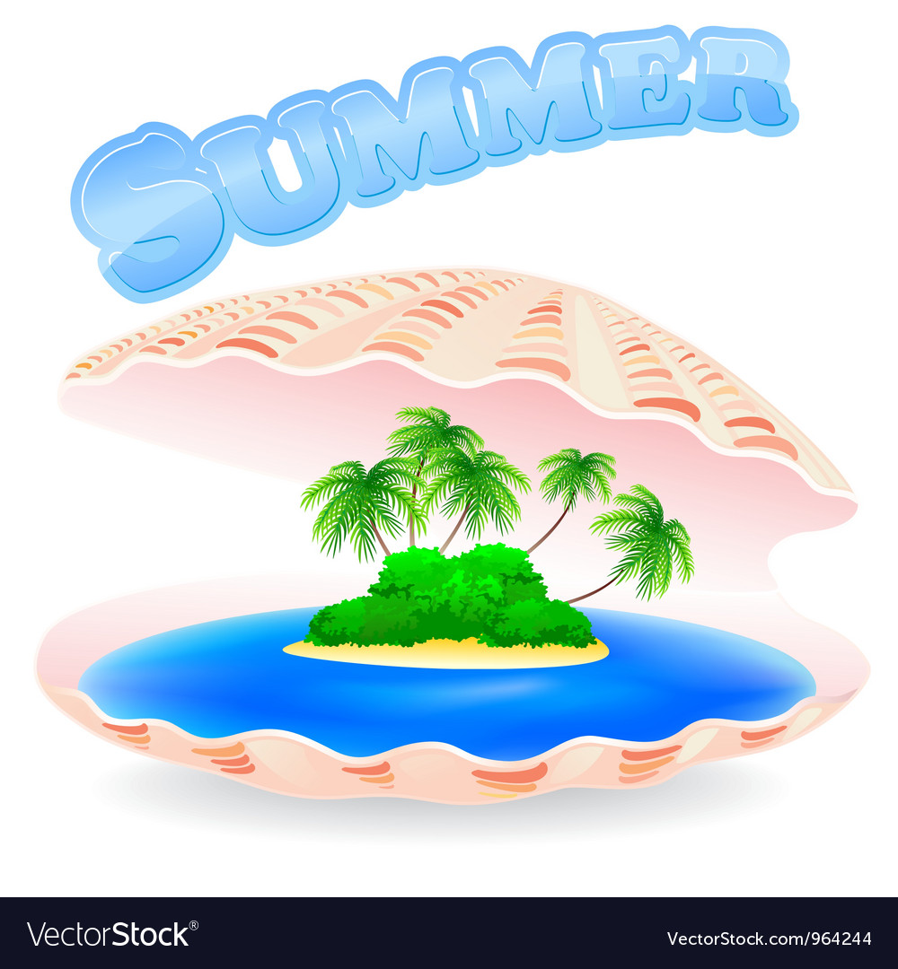 Tropical island shell vector | Price: 1 Credit (USD $1)