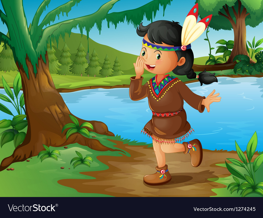 An indian girl in the forest vector | Price: 1 Credit (USD $1)