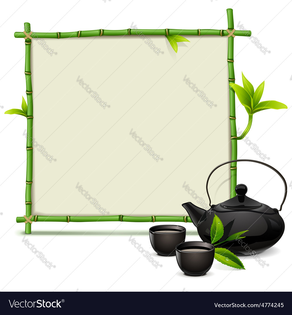 Bamboo frame with tea vector | Price: 3 Credit (USD $3)