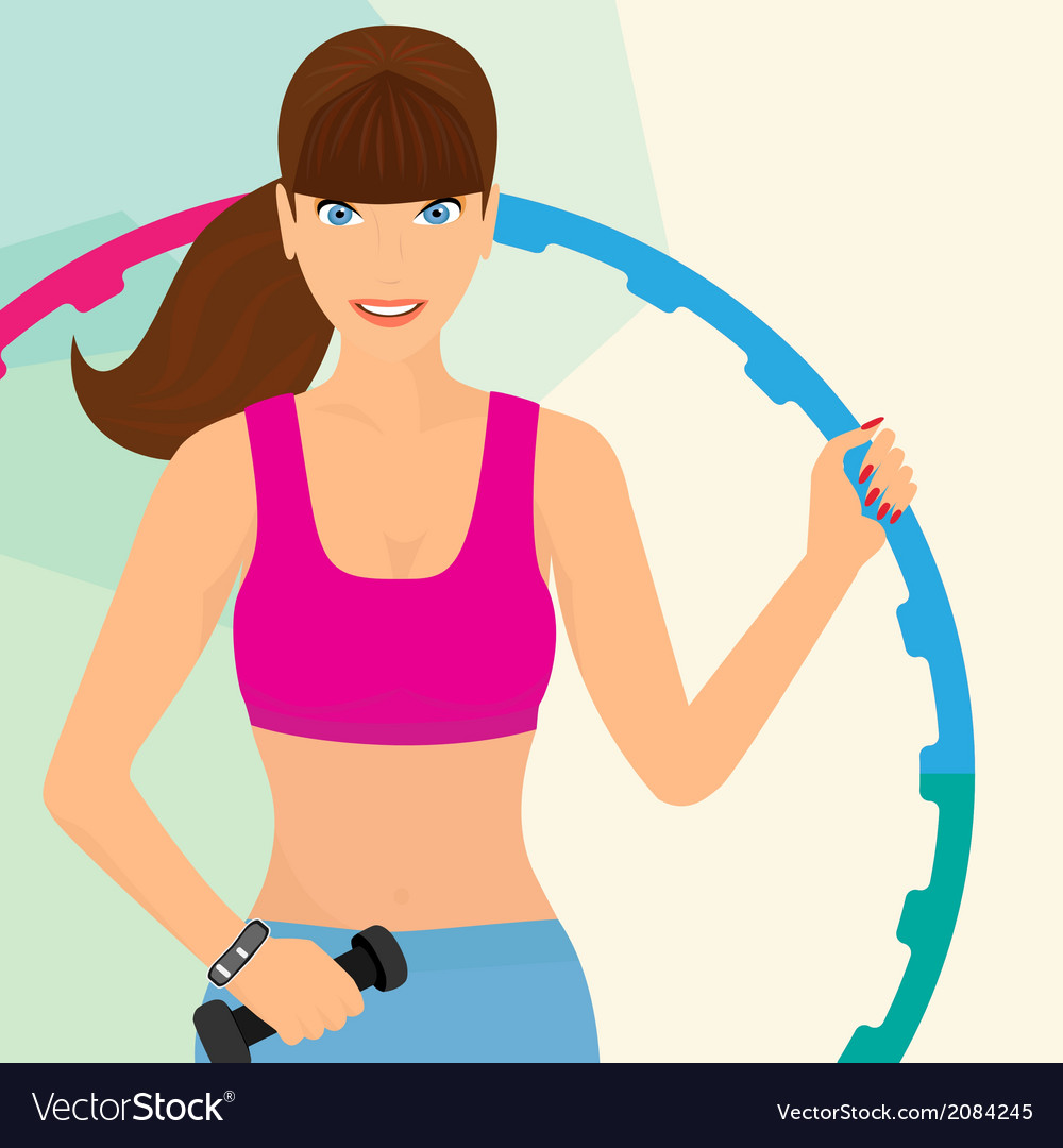 Beautiful woman exercising with hula hoop vector | Price: 1 Credit (USD $1)