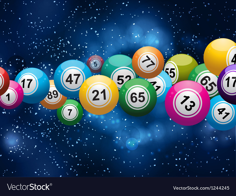 Bingo balls on a glowing blue background vector | Price: 1 Credit (USD $1)