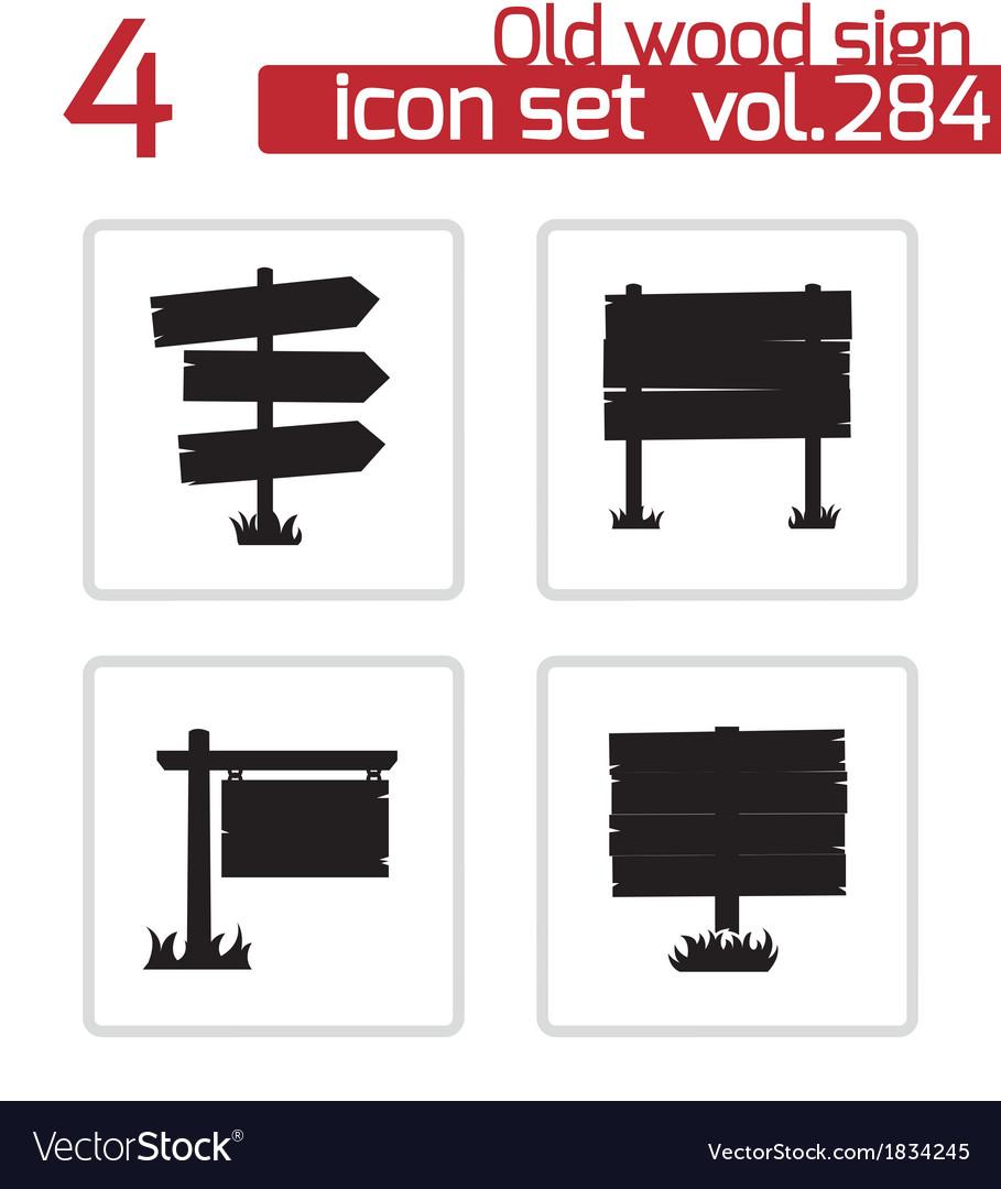 Black old wood sign set vector | Price: 1 Credit (USD $1)