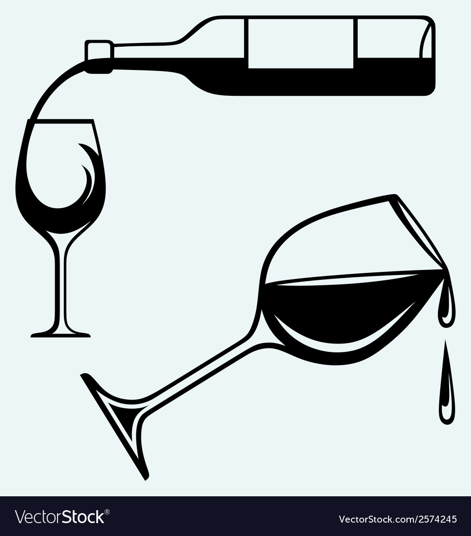 Bottle of wine and glasses vector | Price: 1 Credit (USD $1)