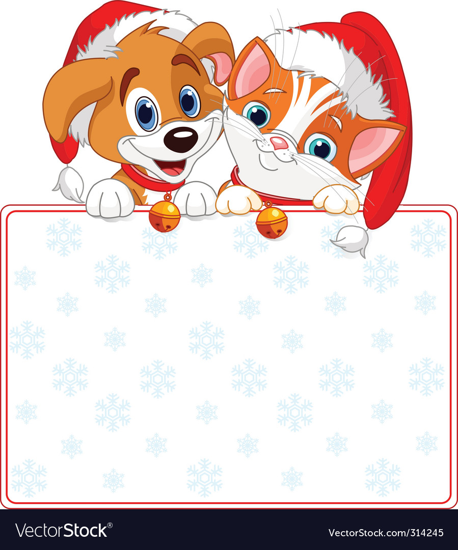 Christmas cat and dog sign vector | Price: 3 Credit (USD $3)