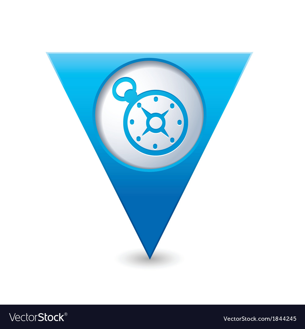 Compass icon on map pointer blue vector | Price: 1 Credit (USD $1)