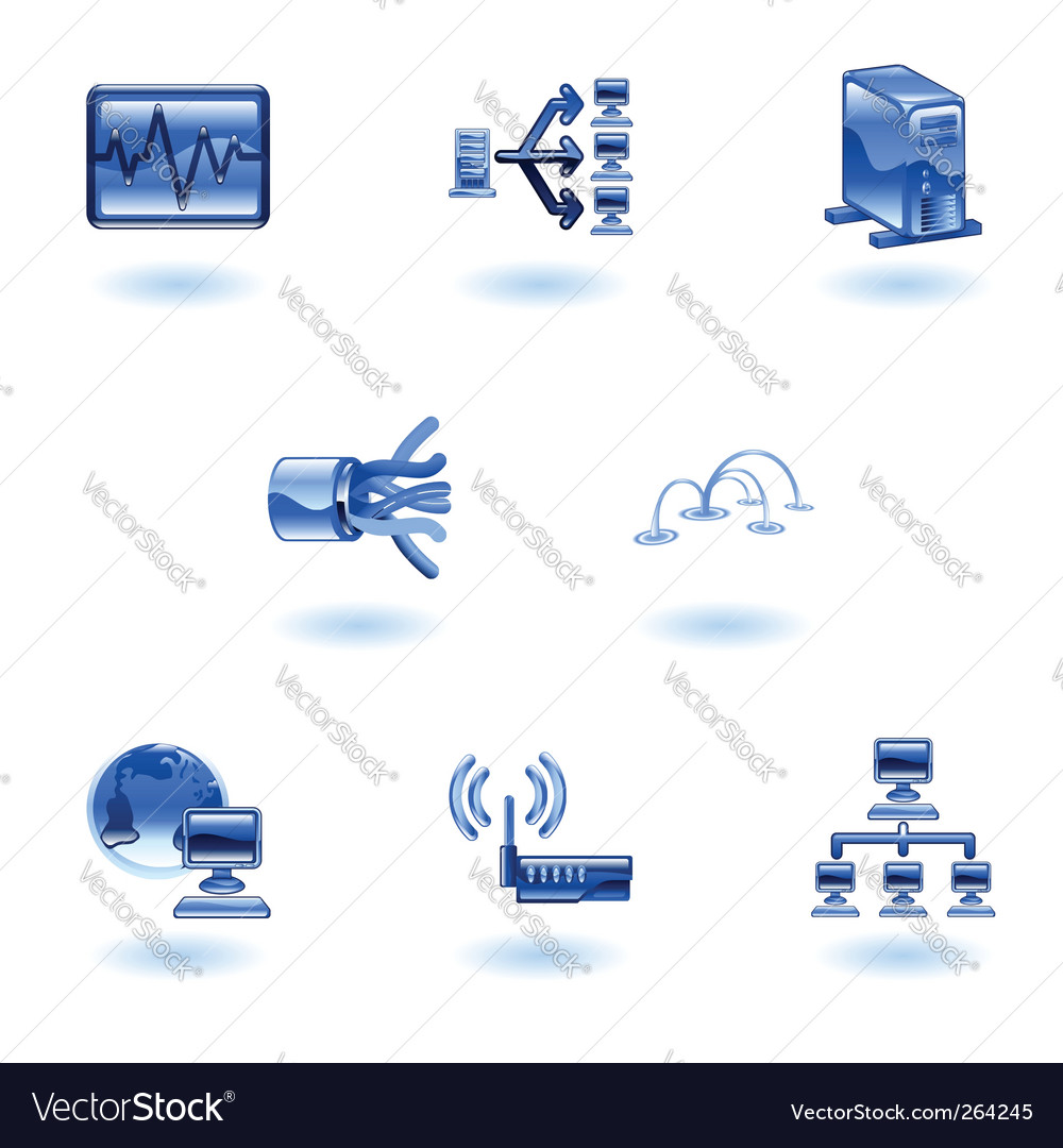 Computer network icons vector | Price: 1 Credit (USD $1)