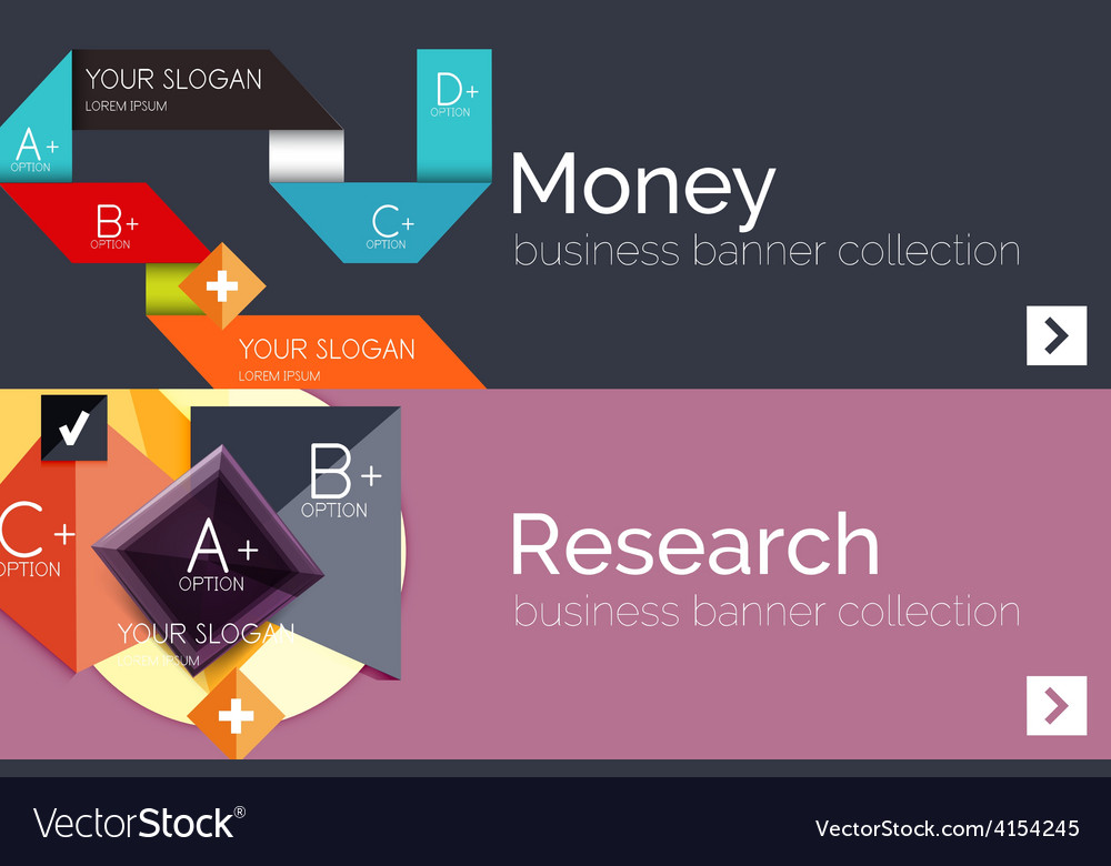Flat design paper infographic banner set vector