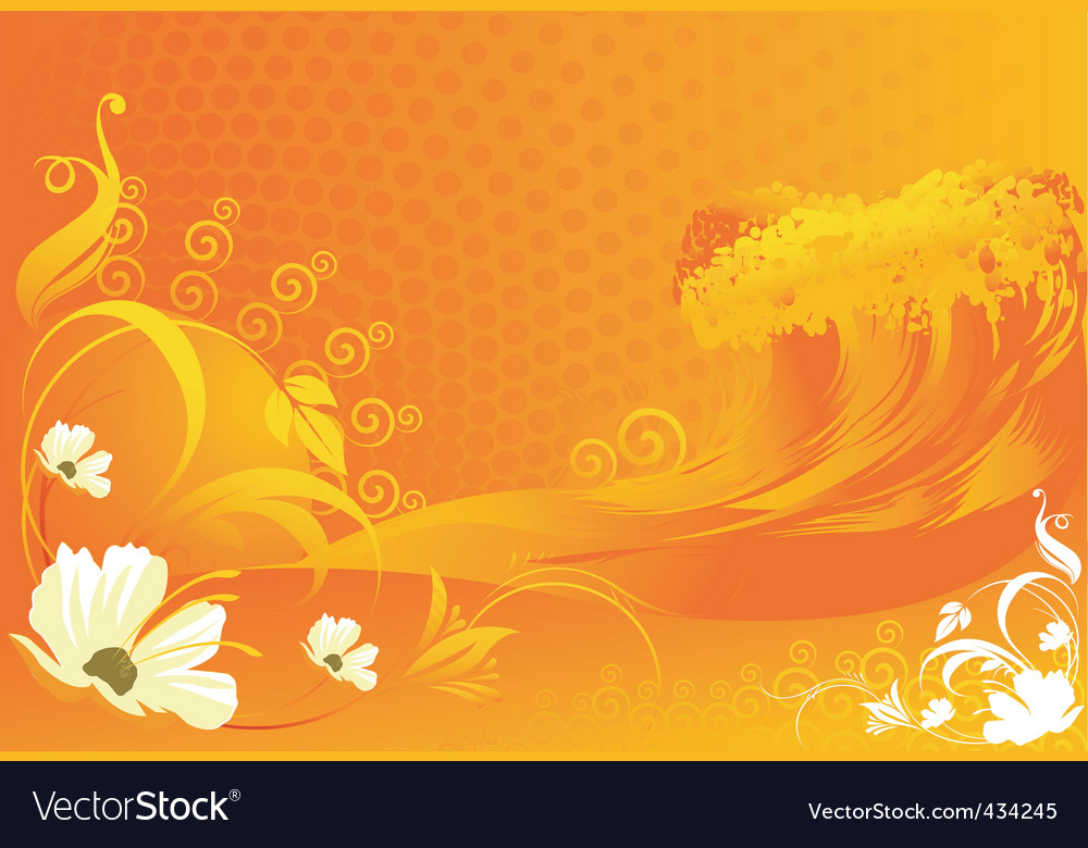 Flowers with wave designs vector   Price: 1 Credit (USD $1)