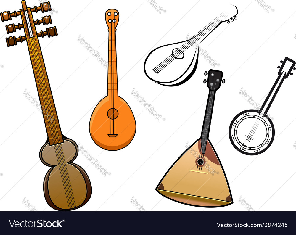 Folk stringed musical instruments design elements vector | Price: 1 Credit (USD $1)