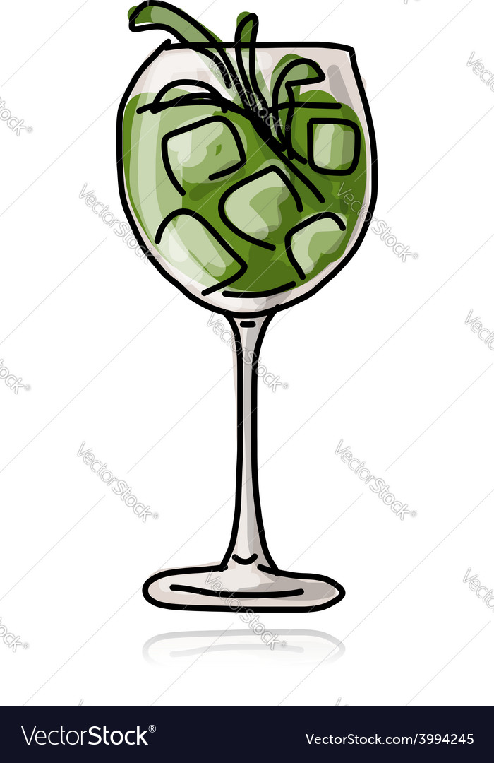 Green cocktail sketch for your design vector | Price: 1 Credit (USD $1)