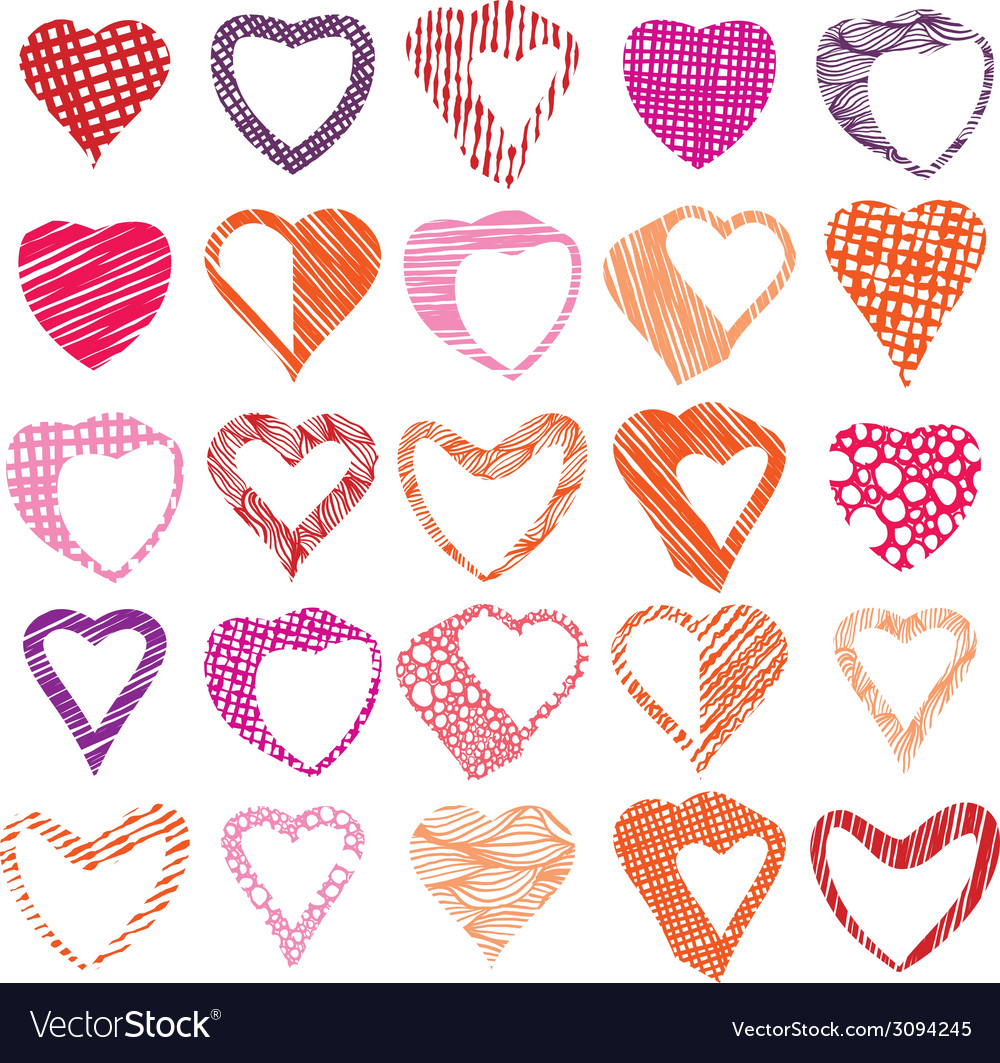 Hearts symbols set different shapes and textures vector | Price: 1 Credit (USD $1)