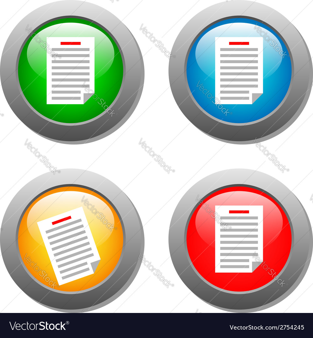 List icon on set of glass buttons vector | Price: 1 Credit (USD $1)