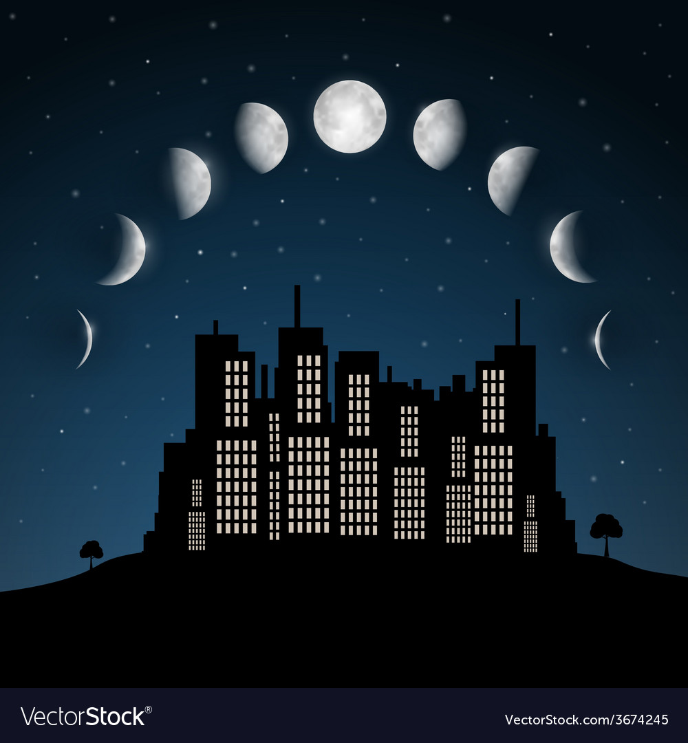 Moon phases above night city vector | Price: 1 Credit (USD $1)