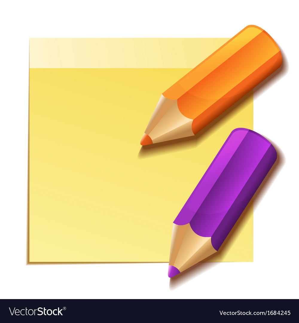 Realistic yellow stick note and two color pencils vector | Price: 1 Credit (USD $1)