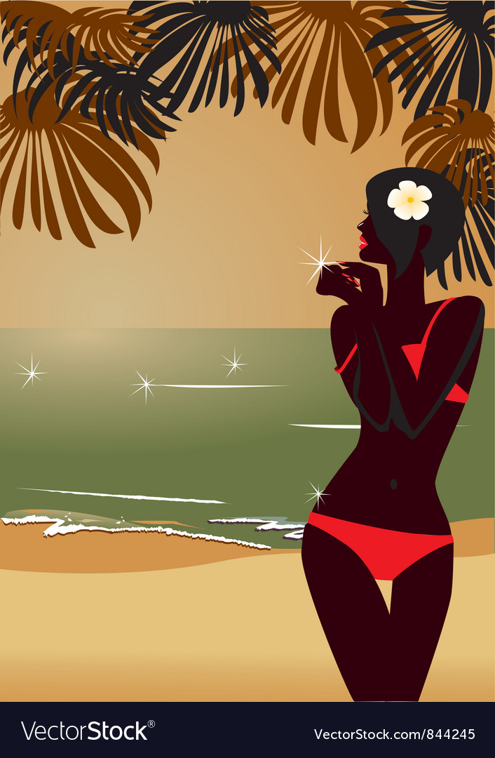 Sunset tropic beach vector | Price: 1 Credit (USD $1)