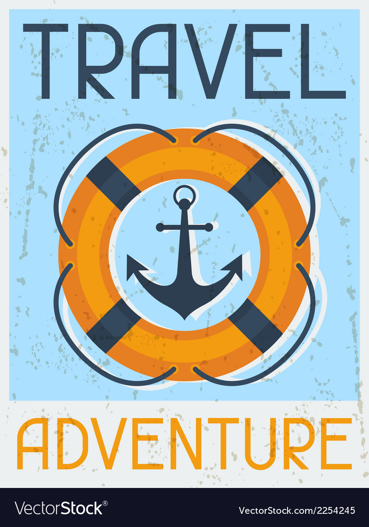 Travel adventure nautical retro poster in flat vector | Price: 1 Credit (USD $1)