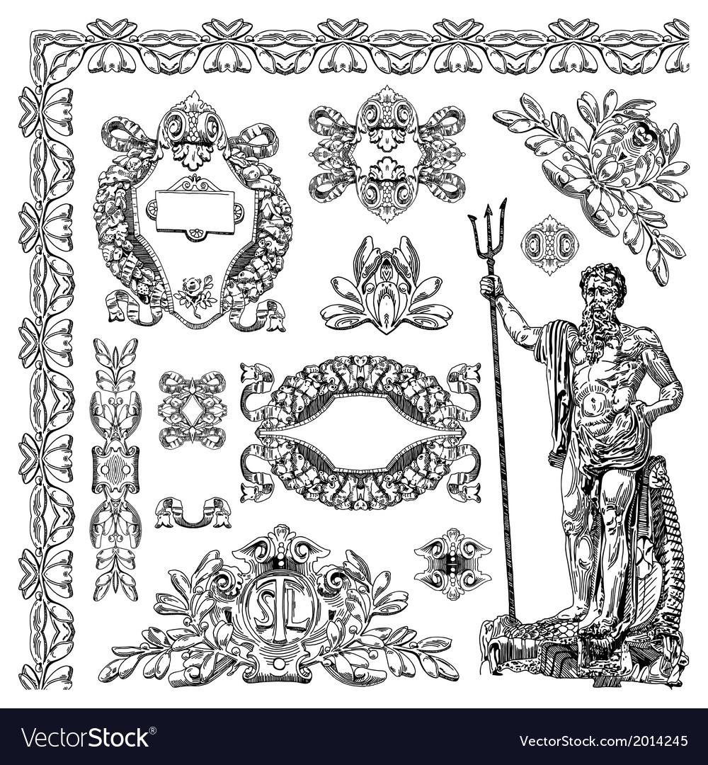 Vintage sketch ornamental design element vector   Price: 3 Credit (USD $3)