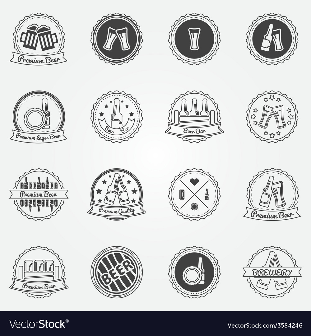 Beer labels or badges set - black logos vector | Price: 1 Credit (USD $1)
