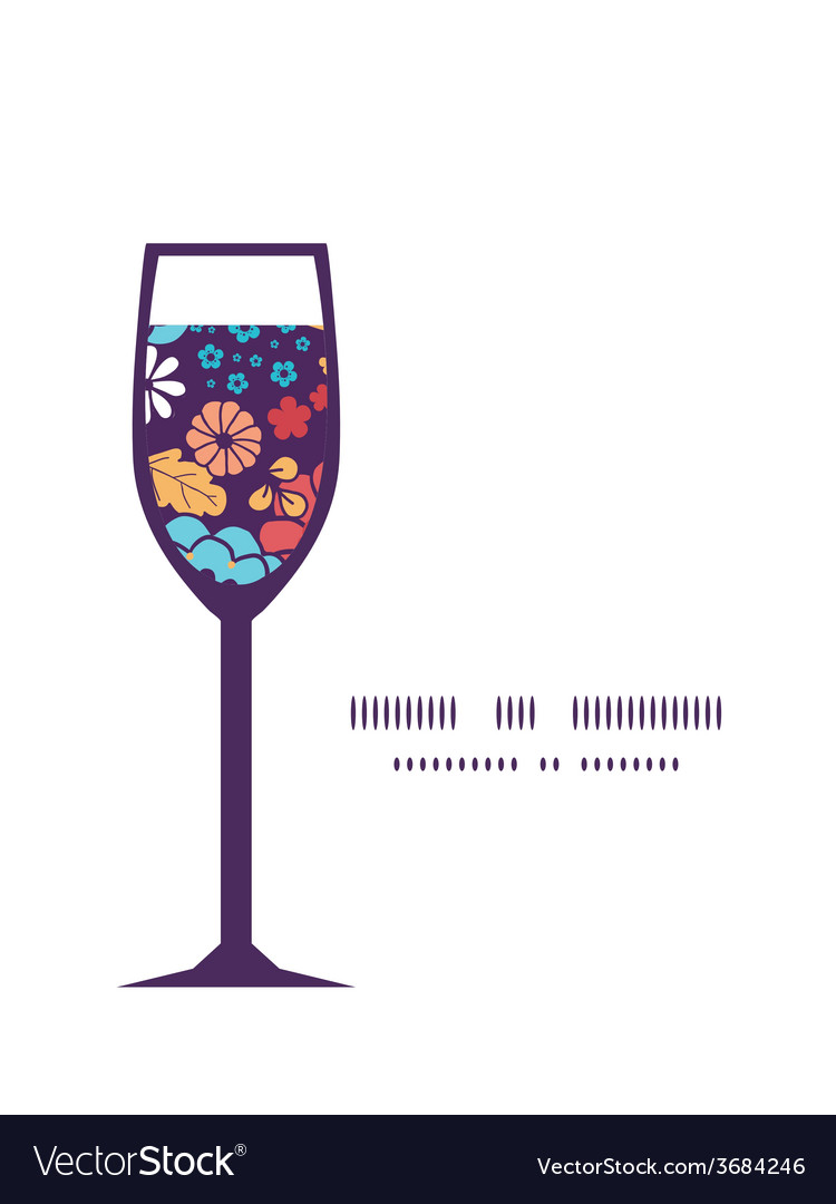 Colorful bouquet flowers wine glass silhouette vector | Price: 1 Credit (USD $1)