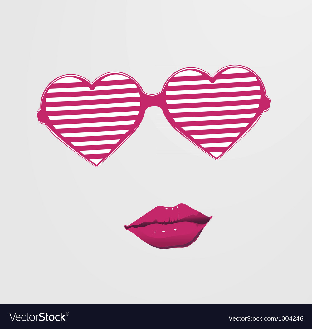 Combination heart and glasses with lips vector | Price: 1 Credit (USD $1)