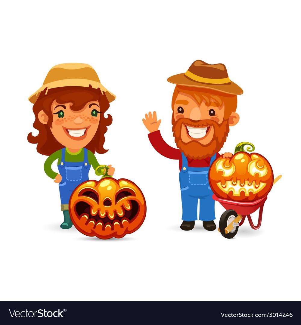 Farmers with halloween pumpkins vector | Price: 1 Credit (USD $1)