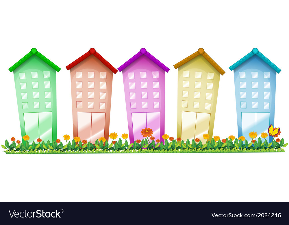 Five tall buildings vector | Price: 1 Credit (USD $1)