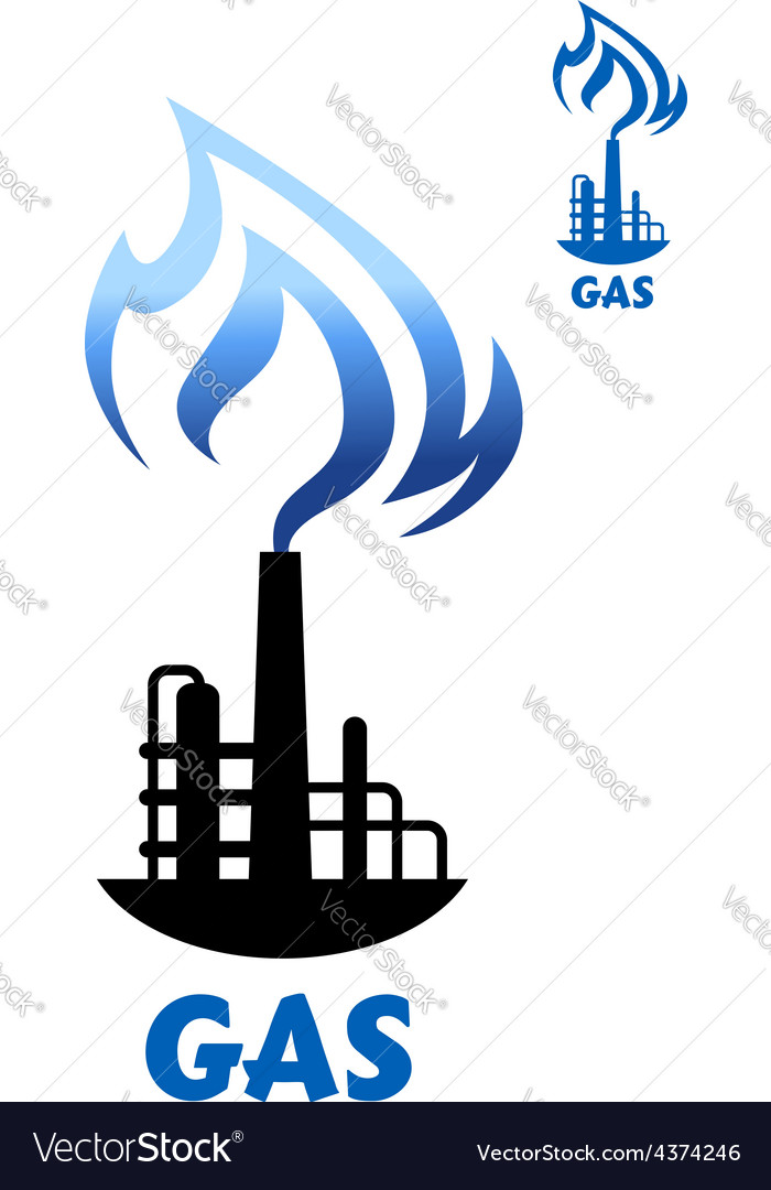 Gas production plant silhouette with blue flame vector | Price: 1 Credit (USD $1)