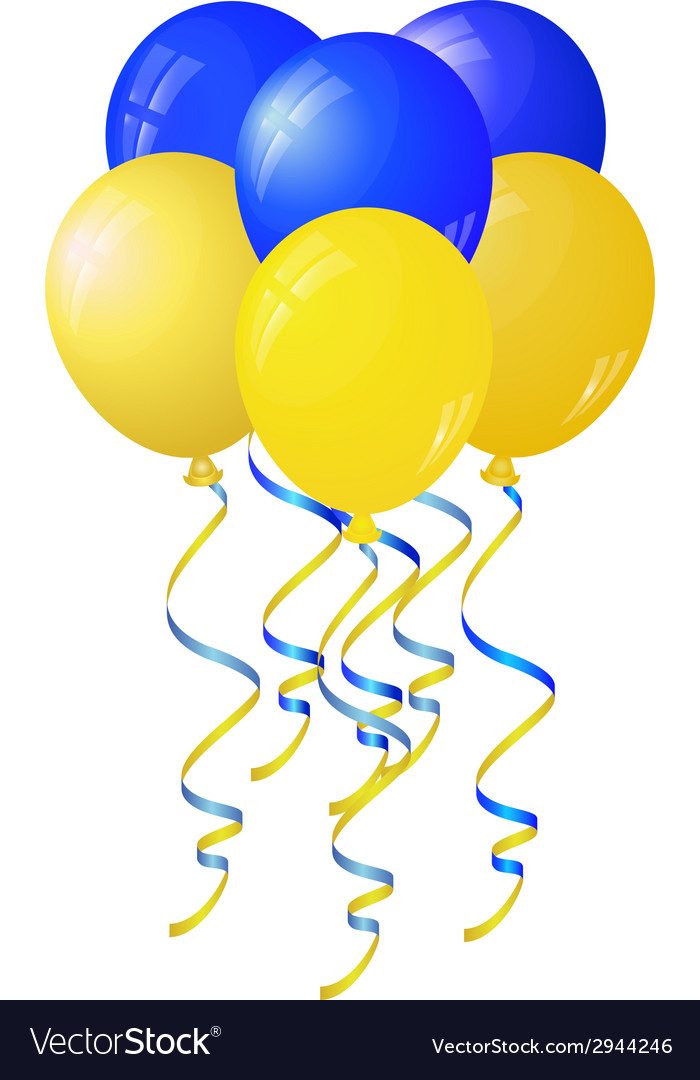 Glossy yellow and blue balloons stylized flag of vector | Price: 1 Credit (USD $1)