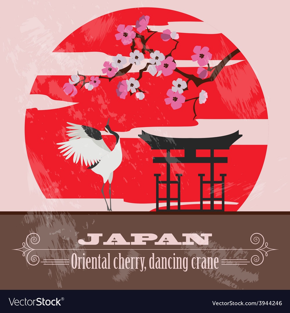 Japan landmarks retro styled image vector | Price: 1 Credit (USD $1)
