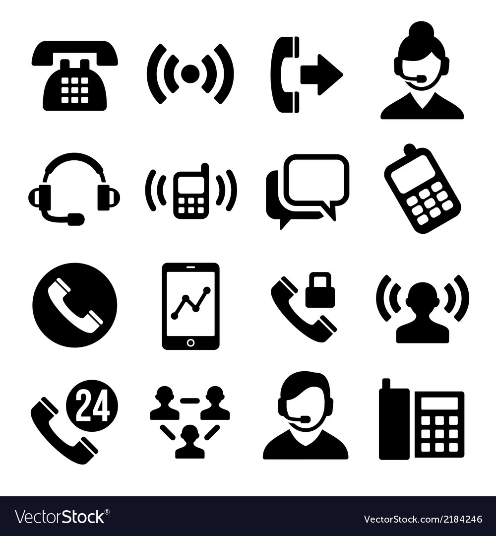 Phone and call center icons set vector | Price: 1 Credit (USD $1)