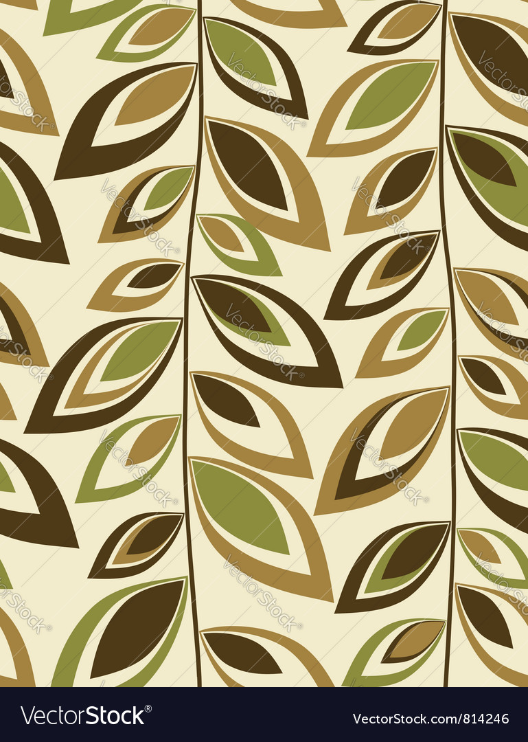Retro leaves - seamless background vector | Price: 1 Credit (USD $1)