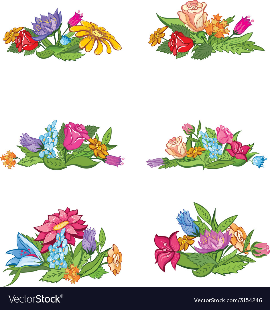 Set of flower vignettes vector | Price: 1 Credit (USD $1)