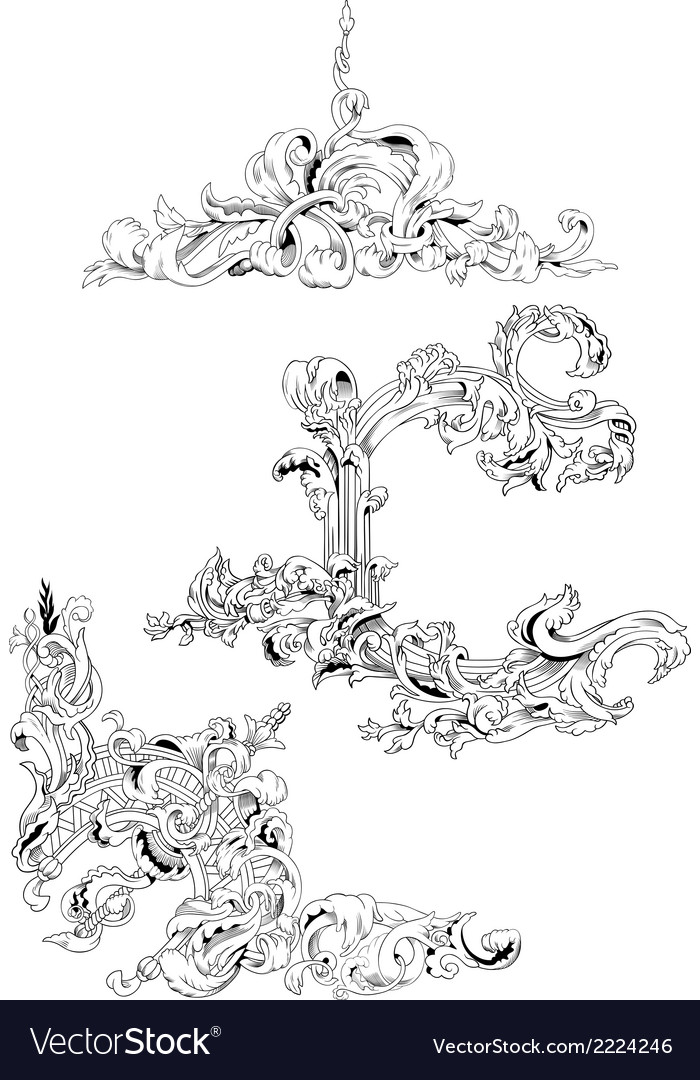 Set of plant ornaments vector | Price: 1 Credit (USD $1)