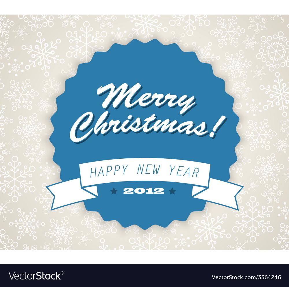 Simple blue vintage retro christmas card vector | Price: 1 Credit (USD $1)
