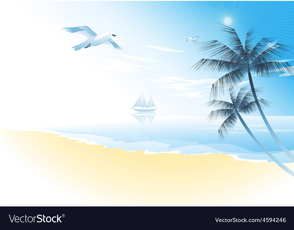 Summer beach with palm trees vector | Price: 1 Credit (USD $1)