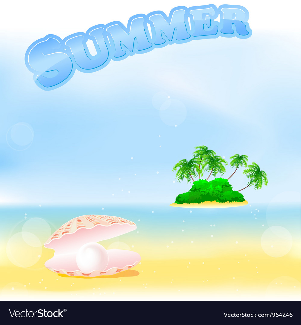 Summer tropical island vector | Price: 1 Credit (USD $1)
