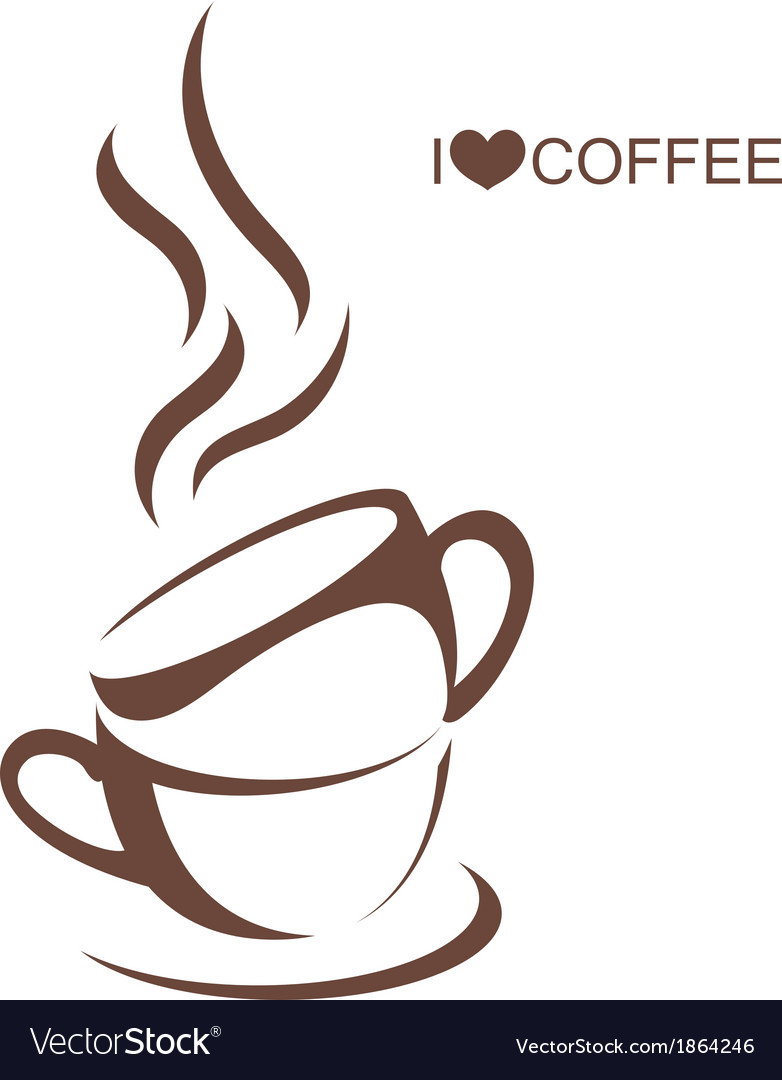 Two coffee cup with plate vector | Price: 1 Credit (USD $1)