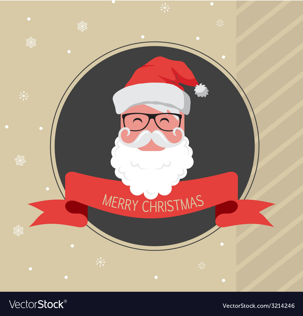 Vintage card of hipster santa claus happy new year vector | Price: 1 Credit (USD $1)