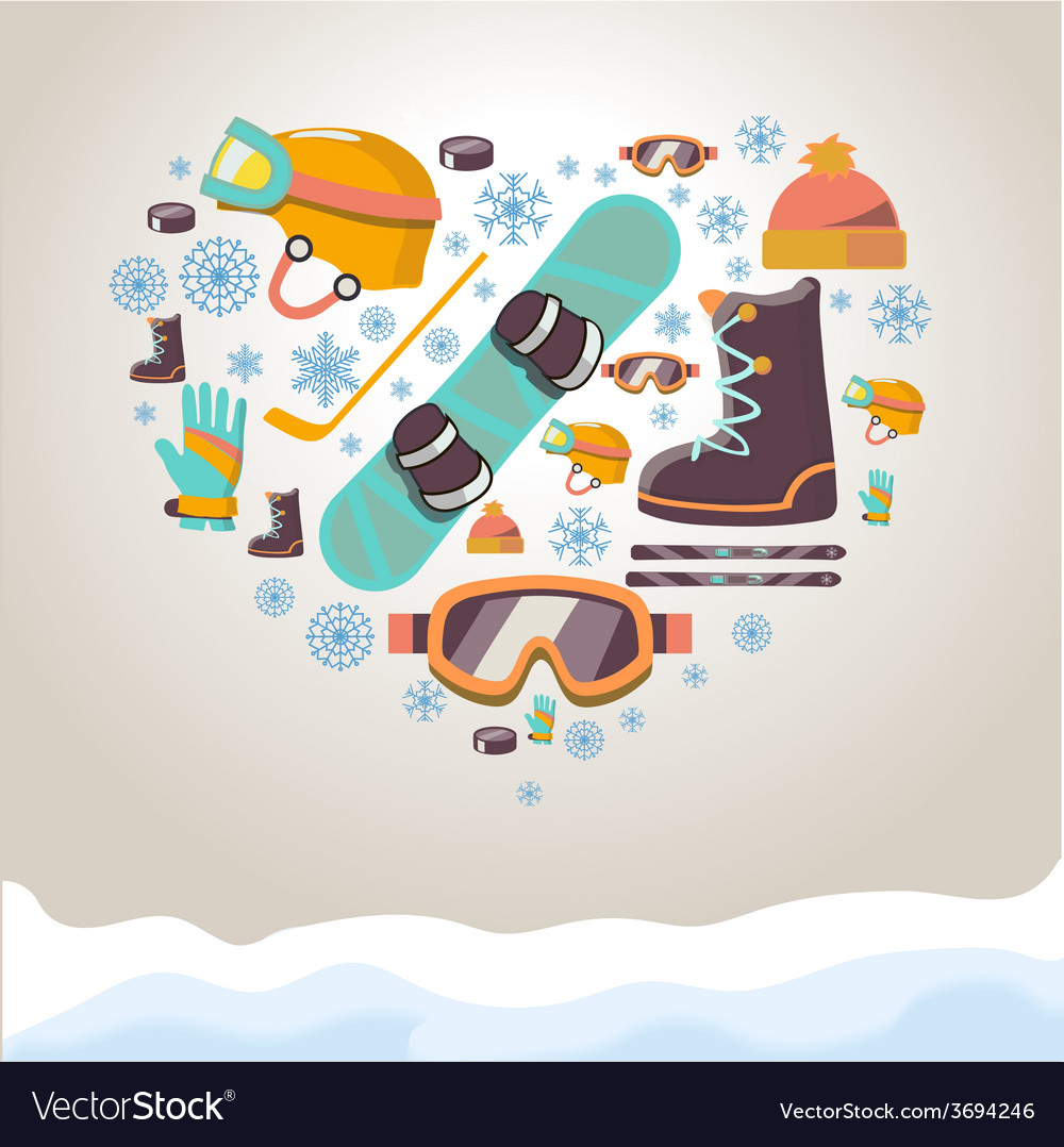 Winter sports equipment background vector | Price: 1 Credit (USD $1)