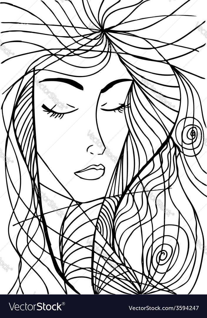 Abstract sketch of woman face vector | Price: 1 Credit (USD $1)