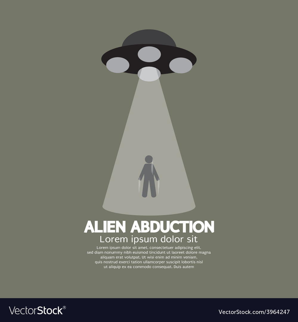 Alien abduction with ufo spaceship vector | Price: 1 Credit (USD $1)