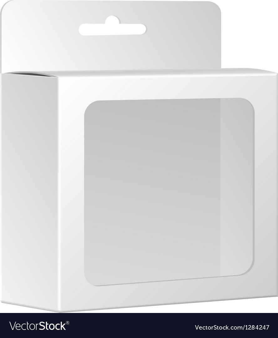 Blank white product package box with window vector   Price: 1 Credit (USD $1)
