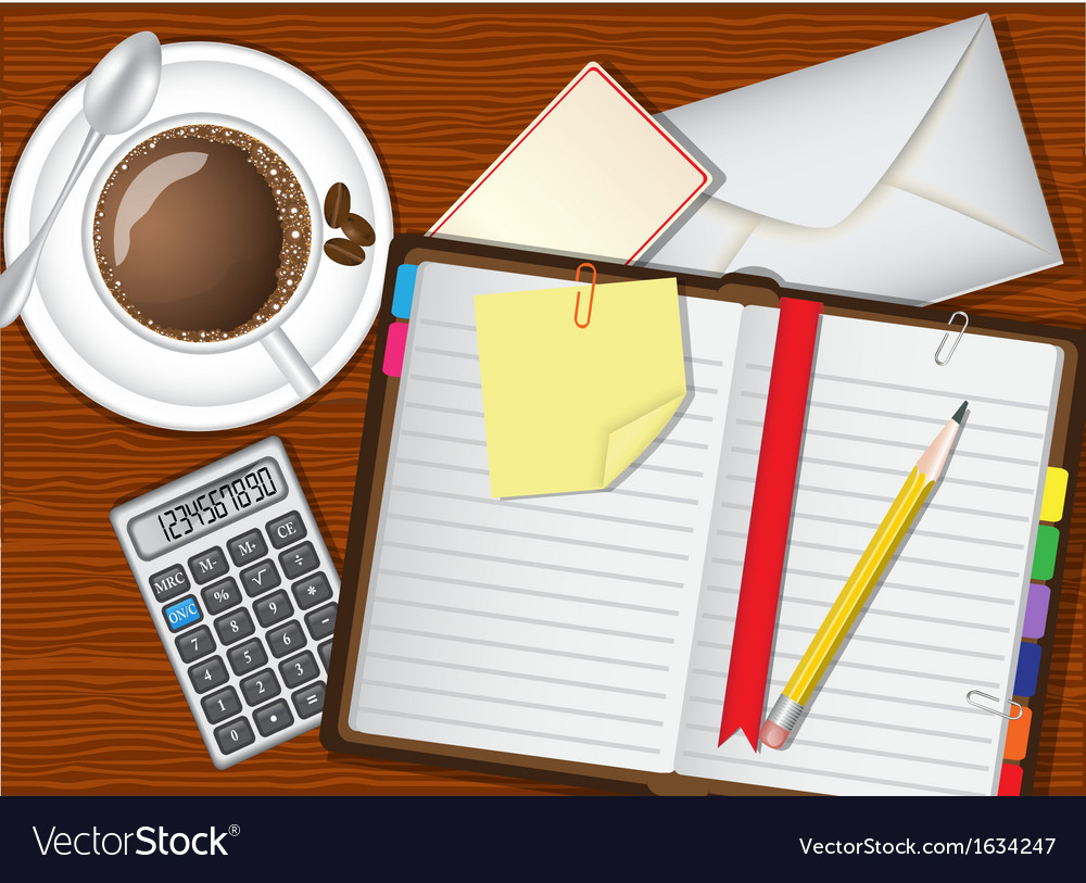 Daily planner coffee and stationery vector | Price: 1 Credit (USD $1)