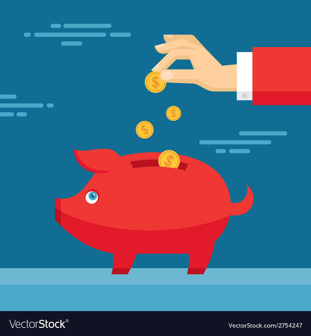 Human hand and moneybox piggy vector | Price: 1 Credit (USD $1)